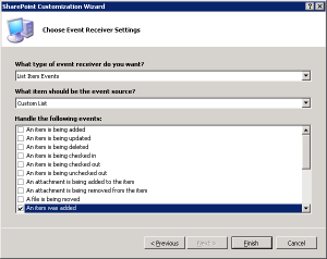 event receiver settings