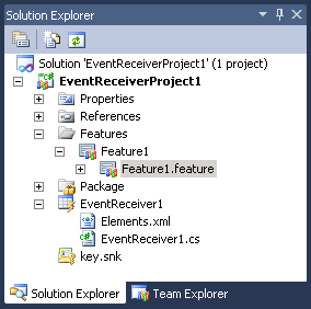 event receiver solution explorer