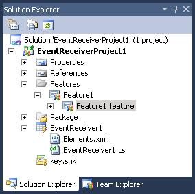 event receiver solution explorer