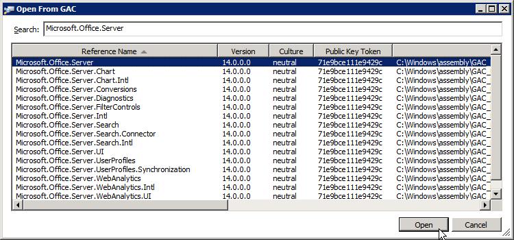 ilspy open microsoft office server from gac